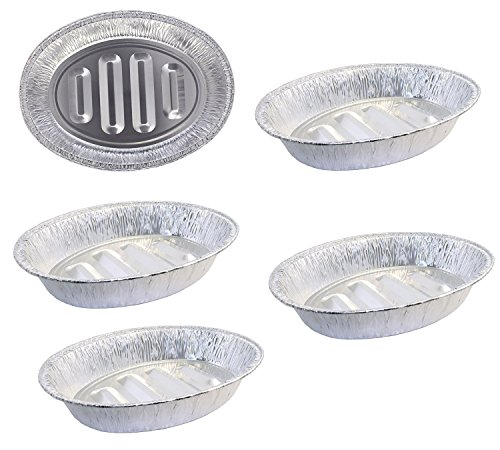 Pack of 5 Extra Large Disposable Aluminum Foil Roasting Pans, Oval Shape, Extra Large Size, 18.25