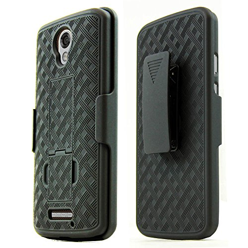 Black Rubberized Plastic Case (Motorola Droid Turbo 2 Holster Case, REDShield [Black] Supreme Protection Slim Matte Rubberized Hard Plastic Case Cover with Kickstand & Swivel Belt)