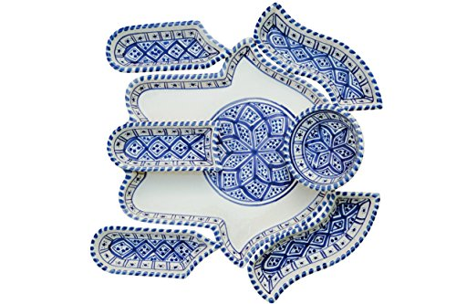 Blue Hamsa Plate-7 plates in 1-Serving Plate-Chip and Dip Set-Hand Made and Hand Painted-Mediterranean-Perfect Hostess Gift-Housewarming Gift-Engagement Gift-Wedding Gift]()