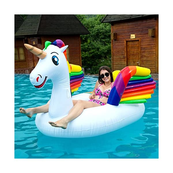 JOYIN Giant Inflatable Unicorn Pool Float with Wings, Alicorn/Pegasus Beach Floats, Swim Party Toys, Pool Island, Summer… 5