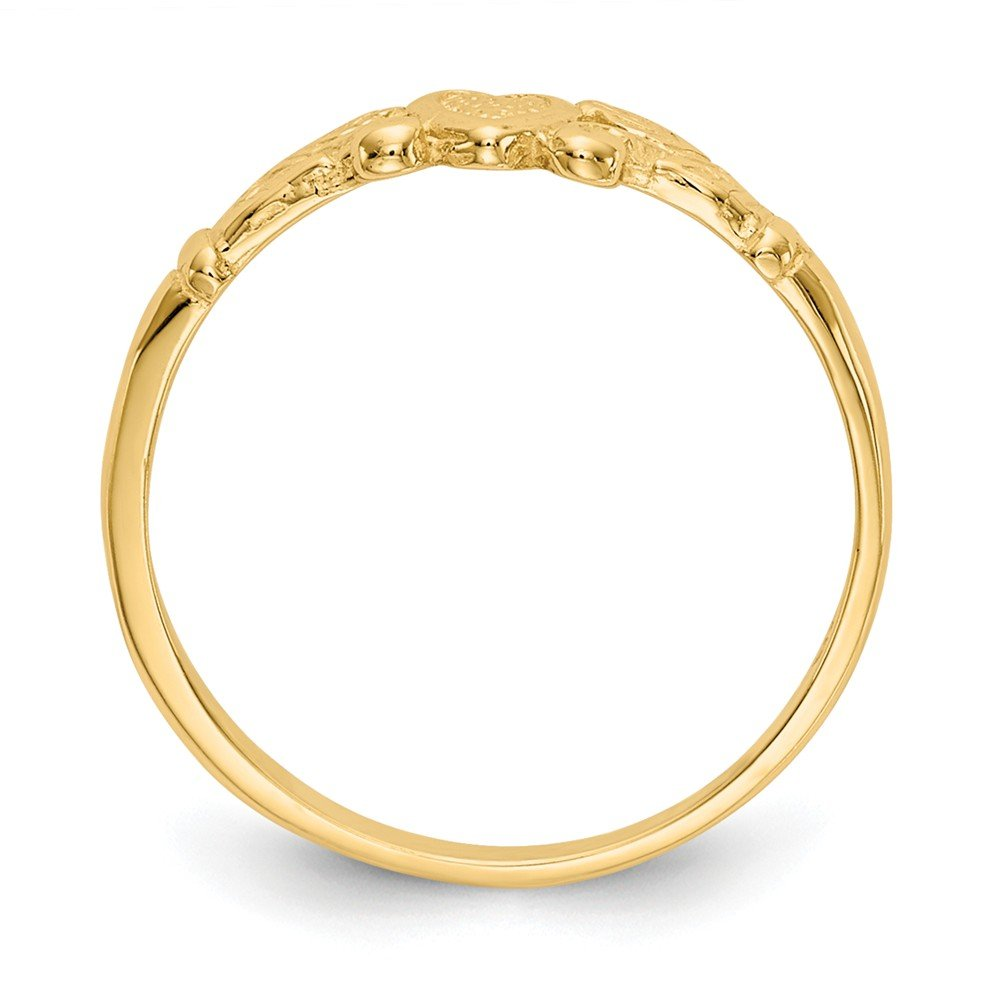 Qgold Baby and Children 14K Gold Heart Ring (Yellow-Gold) by Qgold (Image #2)