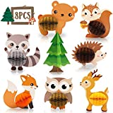 8 PCS Woodland Animals Honeycomb Centerpieces Woodland Creature 3D Table Decorations for Woodland Baby Shower Birthday Party Decorations Supplies