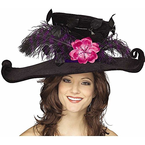 Black Victorian Hat with Plumes & Flower