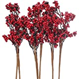 Factory Direct Craft Package of 6 Artificial Red and Deep Burgundy Berry Cluster Embellishing Picks for Holiday and Home Decor