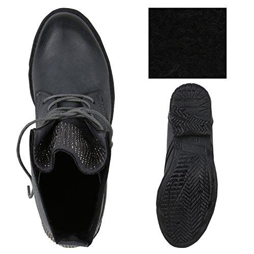 Stiefelparadies Damen Schnürstiefeletten Gefütterte Stiefel Leder-Optik Stiefeletten Animal Print Velours Boots Blockabsatz Schuhe Flandell Grau Strass