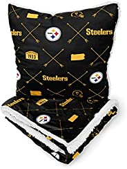 Pegasus Sports NFL Flannel Arrow Repeat Blanket & Pillow Combo Pack- Pittsburgh Stee