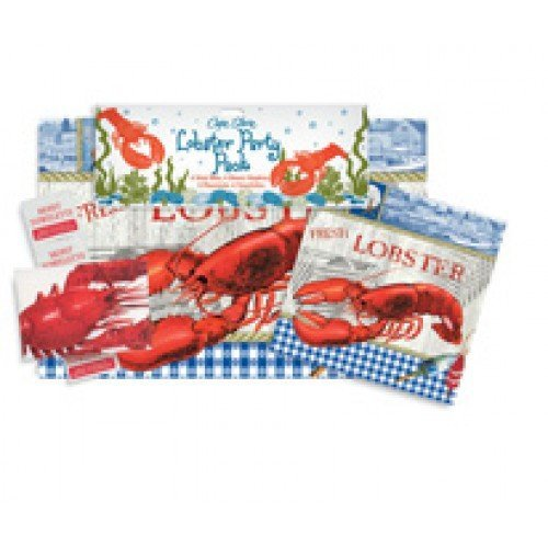 Lobster Crab Seafood Party Pack with 6 Bibs 6 Napkins 6 Placemats 6 Towelettes ()