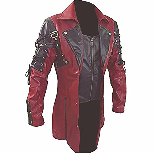Mens Red & Black Matrix Trench PU Leather Coat Steampunk Gothic Coat -