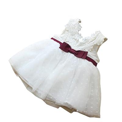 ???? Robe de Filles Été Amlaiworld Bowknot Filles Robe Princesse Dentelle Concours de Demoiselle d'honneur Robe Tutu en Dentelle et Tulle Robe Pour 6Mois-2.5Ans Fille