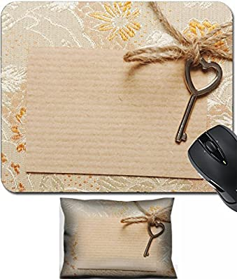 MSD Mouse Wrist Rest and Small Mousepad Set, 2pc Wrist Support design 24018327 Heart Shaped key tied with a rope to a paper card in a vintage style Copy space