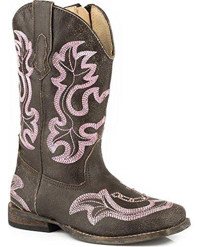 - Roper Kids Baby Girl's Caroline (Toddler) Brown Leather Vamp/Embroidered Shaft Boot