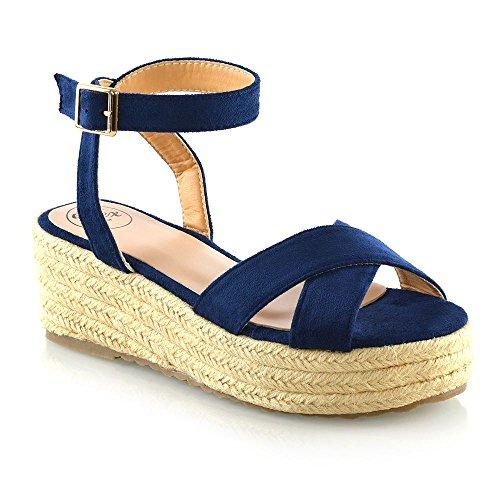 ESSEX GLAM Womens Espadrilles Ladies Navy Faux Suede Cross Strap Platform Wedge Heel Sandals 7 B(M) US -