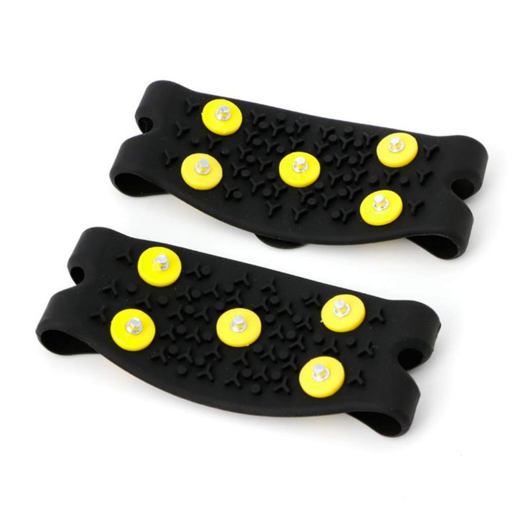 1 Pair Men Women 5-Stud Spike Anti Slip Spike Snow Ice Grips Over Shoe Cleats Silicone Crampons Slip-on Stretch Footwear