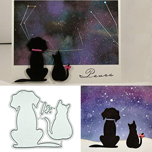 Hukai Dog Cat DIY Metal Cutting Dies Stencil Scrapbooking Photo Album Stamp Paper Card Crafts Decro,Good Gift for Your Kids to Cultivate Their Hands-on Ability