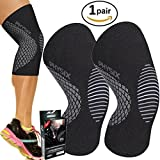 run good gear - PHYSIX GEAR SPORT Knee Support Brace - Premium Recovery & Compression Sleeve For Meniscus Tear, ACL, Running & Arthritis - Best Neoprene Wrap for Crossfit, Squats & Heavy Duty Workouts (1 PAIR Grey L)