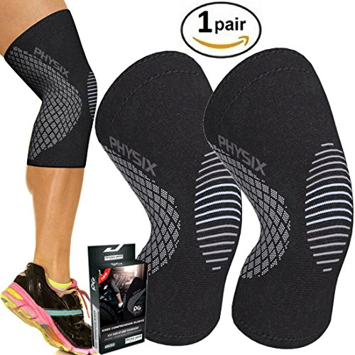 PHYSIX GEAR SPORT Knee Support Brace - Premium Recovery & Compression Sleeve For Meniscus Tear, ACL, Running & Arthritis - Best Neoprene Wrap for Crossfit, Squats & Heavy Duty Workouts (1 PAIR Grey (Flexi Cap)