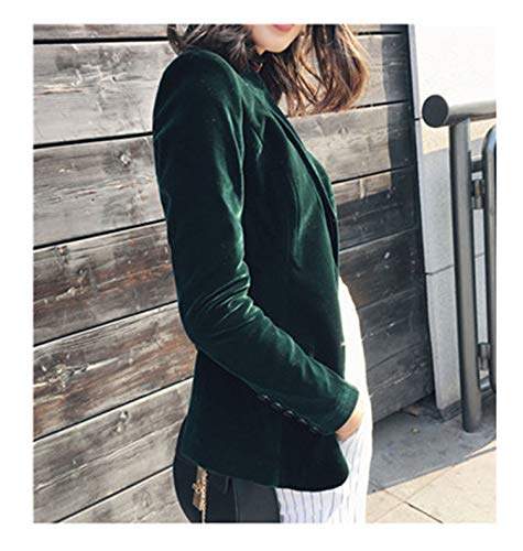2018 Autumn Fashion Women Velvet Blazer Jackets Green Long Sleeve Pockets Korea Slim Female