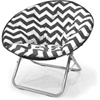 Chevron Folding Saucer Chair in Stripe Black