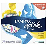 Tampax Pearl Active Plastic Tampons, Regular Absorbency, Unscented, 36 Count - Pack of 6 (216 Total Count) (Packaging May Vary)