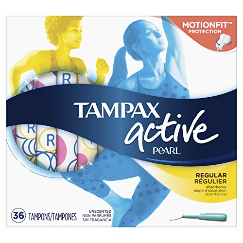 Tampax Pearl Active Plastic, Regular Absorbency, Unscented Tampons, 36 ()