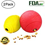 AD Treat Ball - Interactive Dog Toys - Non-toxic & Durable Rubber Treat Food Dispenser IQ Ball for Pet Puppies and Cat Chasing Chewing Playing - Red Round & Yellow Football