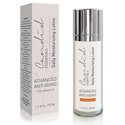 Daily Moisturizer, Organic & Natural Facial Moisturizer for Face, Neck & Décolleté & Hands. Anti Aging Cream with 15% Vitamin C for Collagen, Wrinkles & Hydrate Skin Effectively, by Candid Essentials.