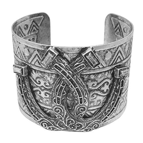 (Gypsy Jewels Burnished Silver Tone Wide Statement Cuff Bangle Bracelet (Double Horseshoe))