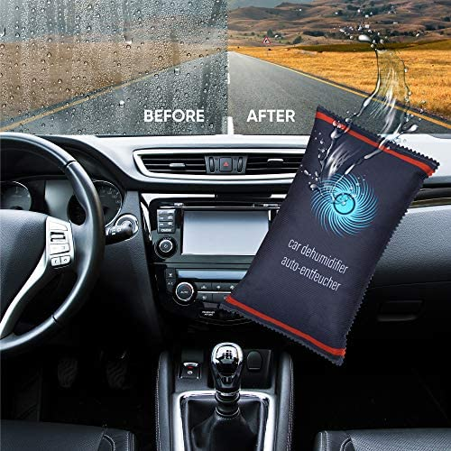 Bright & Homely 1kg Car Home Dehumidifier Large Dry Bag Moisture Killer Absorber Pad Reusable with Non Slip Dashboard Sticker Demist Windscreen