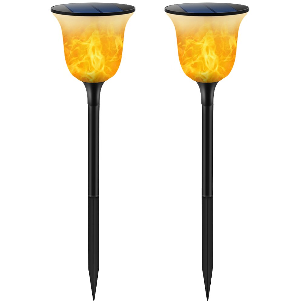 TomCare Solar Lights Solar Torches Lights Waterproof Flickering Flames Torches Lights Outdoor Solar Powered Path Lights Dancing Flame Lighting Dusk to Dawn Auto On/Off for Garden Patio Yard(2)