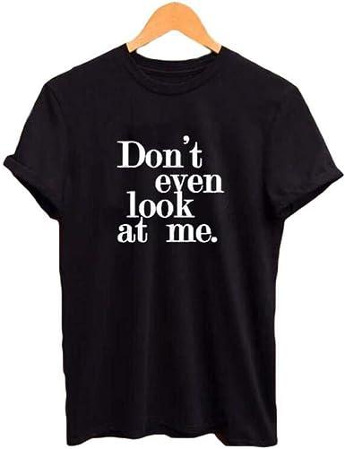 HAHAJY No me mires Incluso Camisetas Divertidas Camiseta de Manga Corta Negra de algodón de Verano para Mujer Camiseta Blanca de Hipster Letras Impresas, Negro, XXL: Amazon.es: Ropa y accesorios