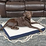 Furhaven Pet Dog Bed | Deluxe Orthopedic Mat Sherpa & Suede Traditional Foam Mattress Pet Bed w/ Removable Cover for Dogs & Cats, Navy, Large
