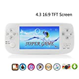 """Handheld Game Console,Rongyuxuan Portable Video Game 4.3""""TFT Screen 4GB PAP Classic Handheld Game Console 610games 64 Bit Portable Game Console,Birthday Gift for Children -White"""