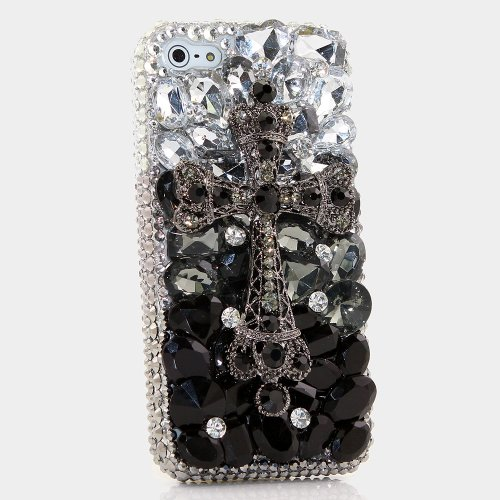 iPhone 7 Plus Case, [Premium Handmade Quality] Bling Genuine Crystals Large Cross Design Hybrid Protective Cover for iPhone 8 Plus / 7 Plus by LUXADDICTION (Swarovski Crystal Cross Cell Phone)