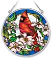 Amia Handpainted Glass Cardinal and Dogwood Floral Suncatcher, 4-1/2-Inch