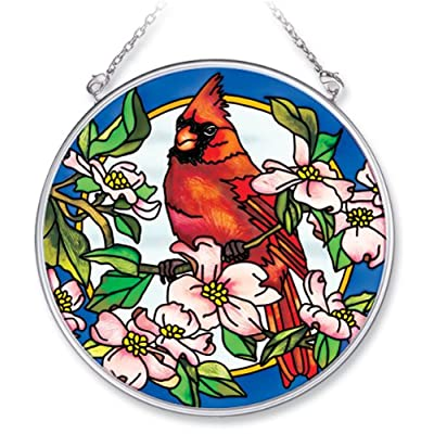 Amia 7566 Handpainted Glass Cardinal and Dogwood Floral Suncatcher, 4-1/2-Inch: Home & Kitchen