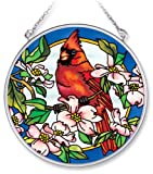 Amia 7566 Handpainted Glass Cardinal and Dogwood Floral Suncatcher, 4-1/2-Inch