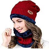 5d3f066a4e9 OMYGO Winter Hats for Women Mens Slouchy Beanie Hat Scarf Set 2 Pcs Thick  Warm Knit