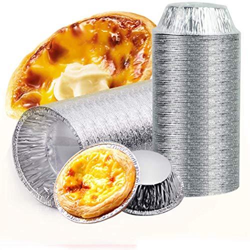Urisgo 100 stuks wegwerp-eiertaartbekers, wegwerp-aluminiumfolie, mokken, bakken, cupcake, blikvorm, rond eierbakjes…