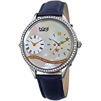 Burgi Swarovski Crystal Encrusted Women's Watch with Blue Skinny Leather Strap - Dual Time – Mother of Pearl Dial with Wave Setting Crystals – Japanese Quartz Analog – BUR184BU