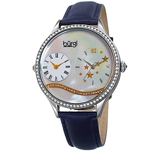 (Burgi Swarovski Crystal Encrusted Women's Watch with Blue Skinny Leather Strap - Dual Time – Mother of Pearl Dial with Wave Setting Crystals – Japanese Quartz Analog –)