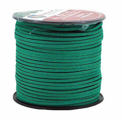 Mandala Crafts 100 Yards 2.65mm Wide Jewelry Making Flat Micro Fiber Lace Faux Suede Leather Cord (Jungle Green) (Green Leather Cord)