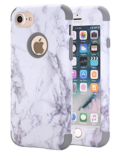 Double Marble - iPhone 7 Case, iPhone 8 Case, KAMII White Marble Stone Pattern Shockproof 2in1 Dual Layer TPU Bumper Hard PC Hybrid Defender Armor Protective Case Cover for Apple iPhone 7/iPhone 8 Grey