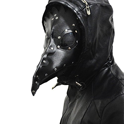 Black Plague Mask (XCOSER Plague Doctor Mask Props Halloween Steampunk Costume PU Leather Black)