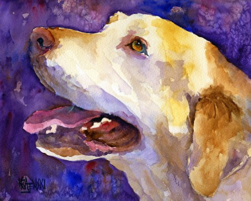 Yellow Labrador Retriever Dog Fine Art Print on 100% Cotton Watercolor ()