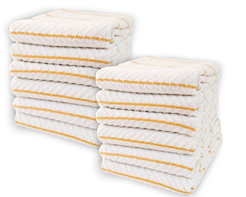 Cotton & Calm Exquisitely Absorbent Kitchen Towels Dish Cloths (12 Pack, 16