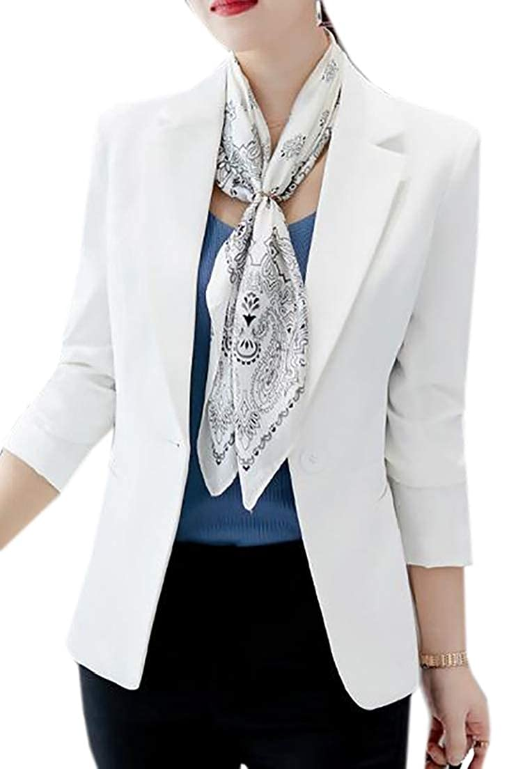 CRYYU Women Formal Two Button Slim Fitted Office Work Blazers Jackets