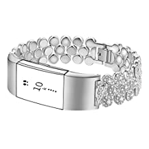 For Fitbit Charge 2 Bands ,Premium Crystals Metal Frame Wristband Accessory Band for Fitbit Charge 2 /Fitbit Charge 2 Band ( No Tracker )
