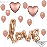 KATCHON 1 Love Kit-Valentines Day Decorations and Gift Foil Heart Balloons-Rose Gold De
