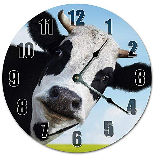OSWALDO Vintage Adorable Staring Cow Clock Decorative Round Wooden Wall Clock - 12 inch