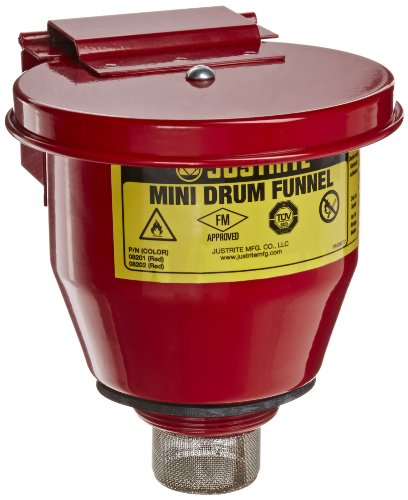 Self Closing Drum Cover - Justrite 08201 Steel Small Safety Drum Funnel with Self Closing Cover, 1 qt Capacity, 4-1/2